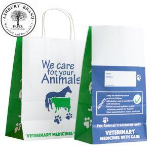 "Generic Veterinary Bag Range. Front view: Vet carrier bag with twist handles, Prescription bag (7"" block bottom SOS, no handles). Paper Bags Ireland"
